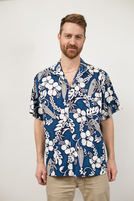 Vintage Blue Hawaiian Shirt - Large Size Men's Button up Casual Short Sleeved Fauna and Floral Tiki Aloha Summer Tropical Beach Shirt