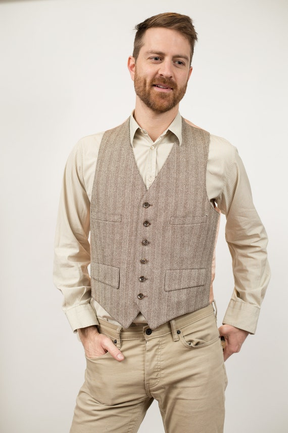 Vintage Formal Vest - Unisex Medium Size Herringbone Tweed Wool Wedding Groomsmen Vest - Retro Country Western Folk Band Festival Shirt