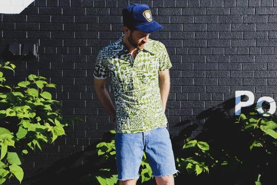 1960's Vintage Mens Medium Green and White Hawaiian Polo Shirt/ Exotic Leaf Print Casual Short Sleeved Ornate Jungle Tiki Summer Beach Shirt