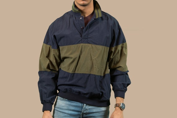 Vintage Men's Windbreaker - Medium 90's Norther Spirit Green and Blue Color Blocked Spring Windbreaker Sporty Coat Jacket