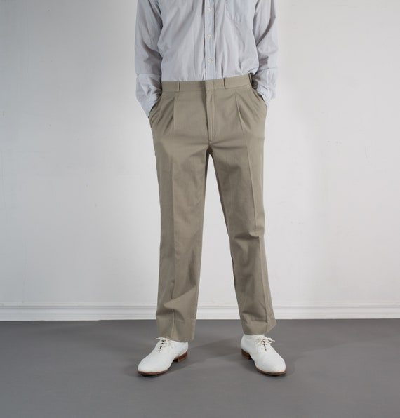Vintage Mens Beige Trousers - W33 Pleated Dress Pants / Khaki Slacks
