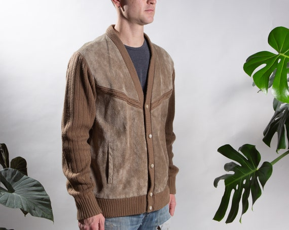 Vintage Brown Cardigan - Large Size Leather and Kn