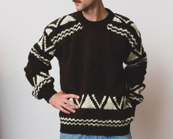 Vintage Knit Sweater - Men's Large Size 1980's Brown Acrylic Geometric Sweater - Retro Triangle Shape Long Sleeve Oversized Pullover Jumper