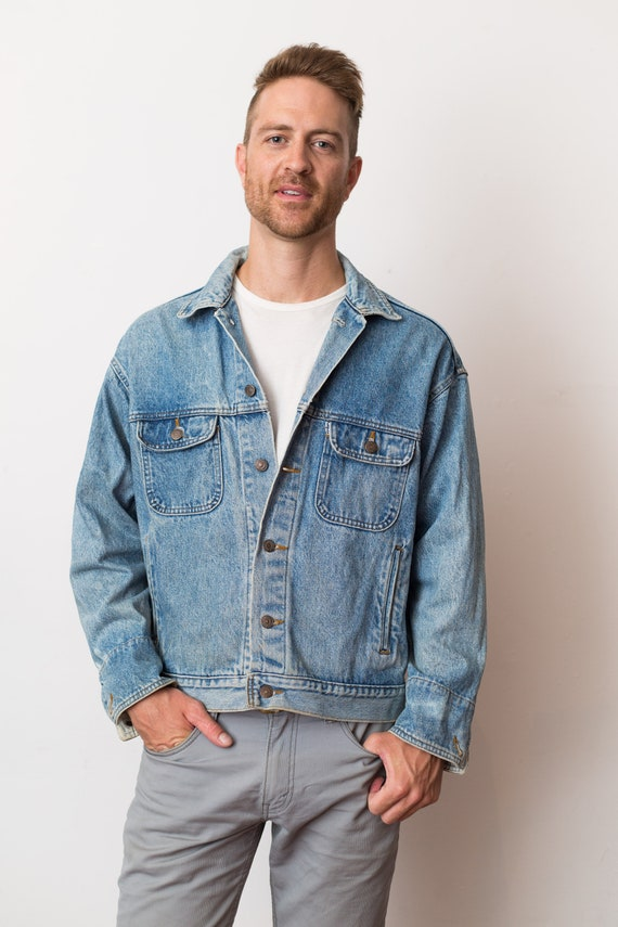 Vintage Denim Jacket - Levis Strauss Jeans Button Down Stone Washed Cropped Top Coat