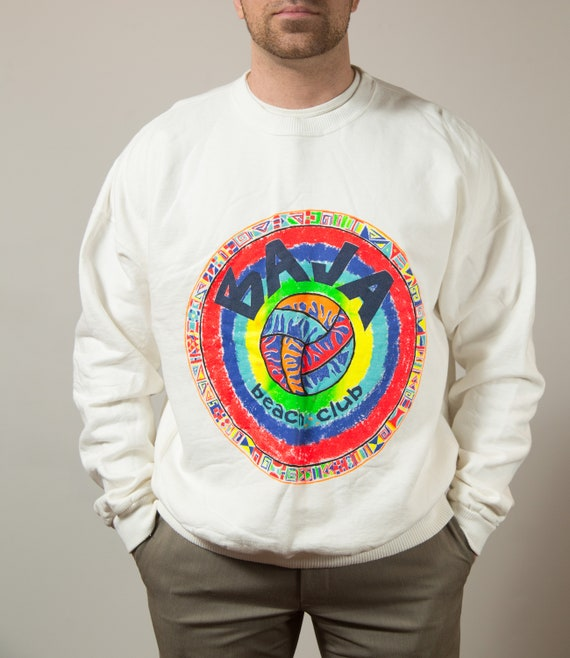Vintage Fresh Prince Sweater - Mens/Unisex XL Baja Beach Club White and Rainbow Pullover Volleyball Sweater - Athletic Brand Pullover