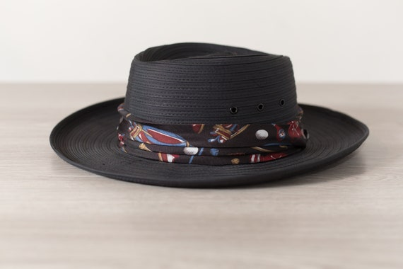 Black Boater Hat - Men's Biltmore Small Hat - Made in Canada - Packable Street Style Streetwear Formal Hat