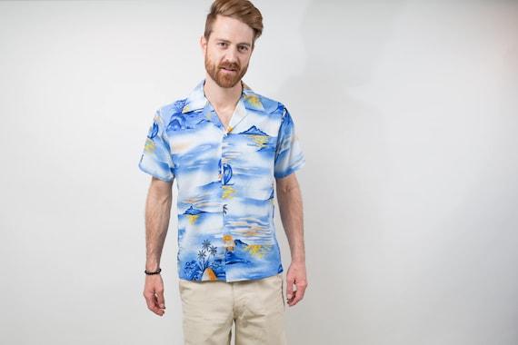 1970's Vintage Mens Medium Tropical Hawaiian Shirt / Button up Casual Short Sleeved Blue and White Aloha Palm Trees Waikiki Tiki Beach
