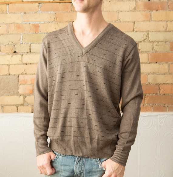 Brown Men's Sweater - Soft V-neck Large size Size Brown Pullover Jumper for Him - Gift for Dad - Christmas Sweater - Relaxed Casual Fashion