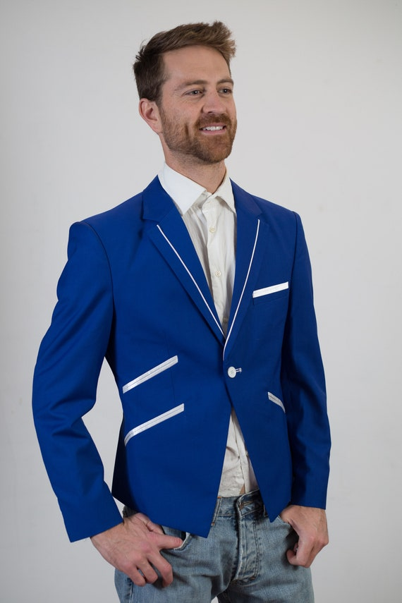 Vintage Blue Blazer - Small Size 1990's Mens Sports Coat - Formal Office Casual Suit top