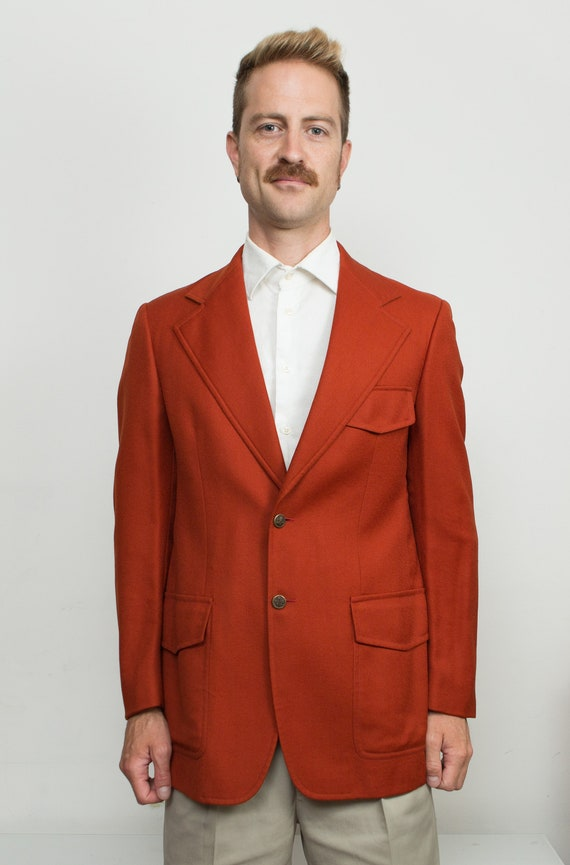 Men's Pumpkin Orange Blazer - Medium Size Velvet Red / Burgundy Sports Coat - Wedding Suit Blazer - Groomsman Jacket