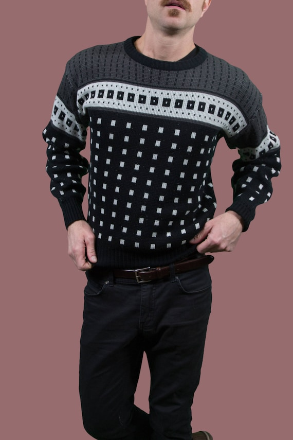 Korea Made Acrylic Sweater Pullover Small Mens Renta Dela Vintage Grey and Sweater in Geometric Black Oscar gWqZTpOnwP