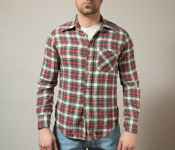 Vintage Cotton Flannel Shirt - Mens Western Ranch Style Checkered Plaid Tartan Red and White Long Sleeved Shirt