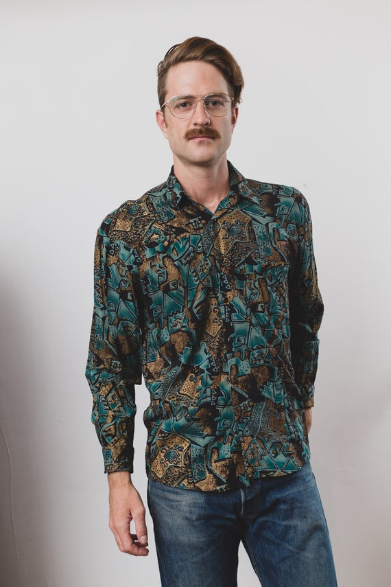 Vintage Hip Hop Shirt - 80's Mens Large Button up Casual Long Sleeved Boho Summer Shirt by Dale's - Fresh Price Abstract Geometric Shirt