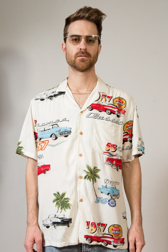 Vintage Car Shirt - Men's Medium Button down Casual Short Sleeved Hawaiian Boho Summer Shirt by with Vintage Cars - Dad Vibes Vacay Shirt