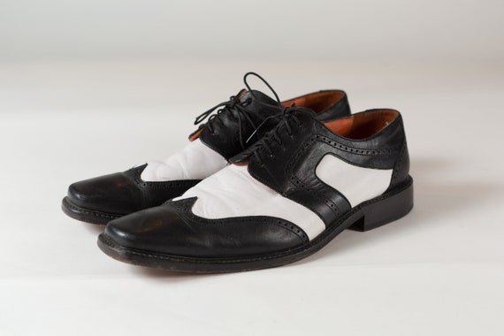 Black and White Shoes - Black and White Leather Size 11 Men's Casual Dressy Preppy Summer Lace up Formal Dance Shoes