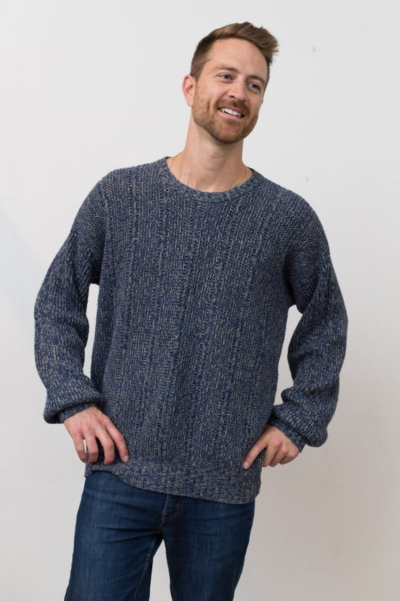 Vintage Men's Sweater -Croft and Barrow Large Blue Patterned Knit Pullover - Long Sleeved Oversized Jumper - Toronto Fashion