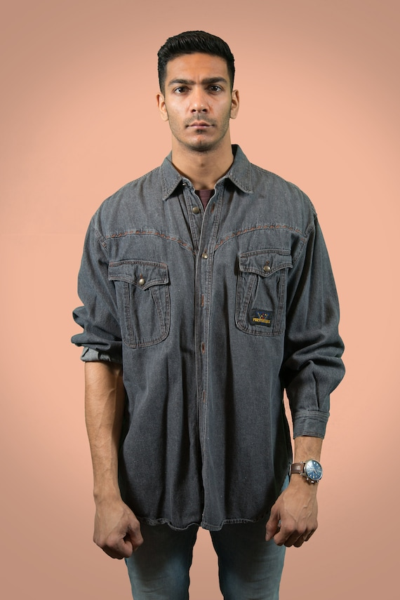 Vintage Denim Shirt / Large Charcoal Faded Unisex Portabello Long Sleeved Grey Jean Shirt / Casual Summer Button up Mens Shirt - Italy