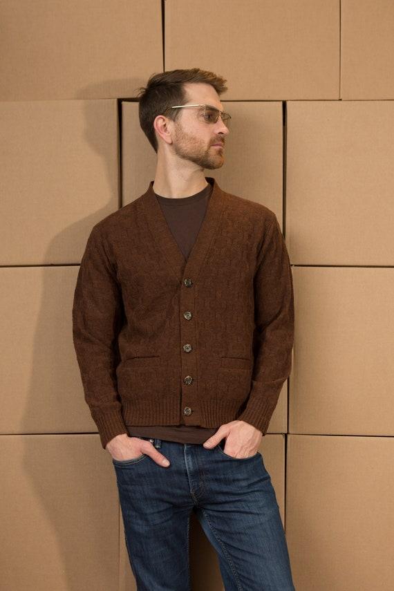 Vintage Men's Acrylic Cardigan - Medium Size Brown Coloured Knit Geometric Sweater - Casual Preppy Sporty Golf Button up Grandpa Jumper