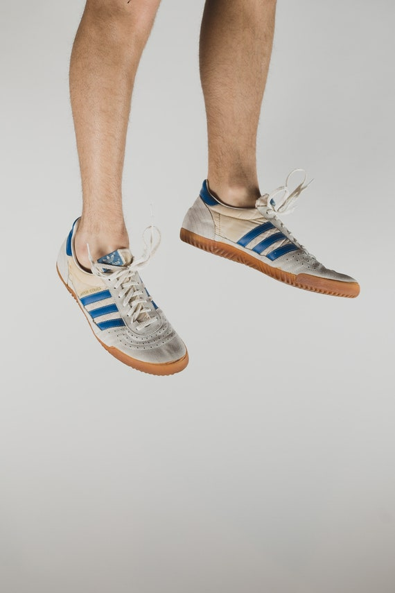 Vintage Adidas Shoes - Size 13 Men's Retro White Low Rise Blue Stripe Classic Lace up Sneakers with Gum Soles