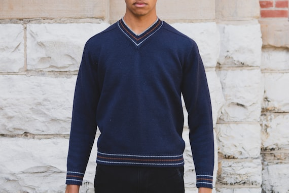 Vintage Blue Sweater - Men's V-neck Wool Medium Size Blue Pullover Crew Neck Jumper for Him - Gift for Dad - Christmas Sweater