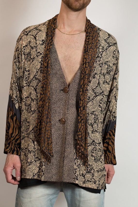 Vintage Boho Blouse - Brown and Beige Paisley and Animal Print Tribal Unisex Shirt with Boho Feelz