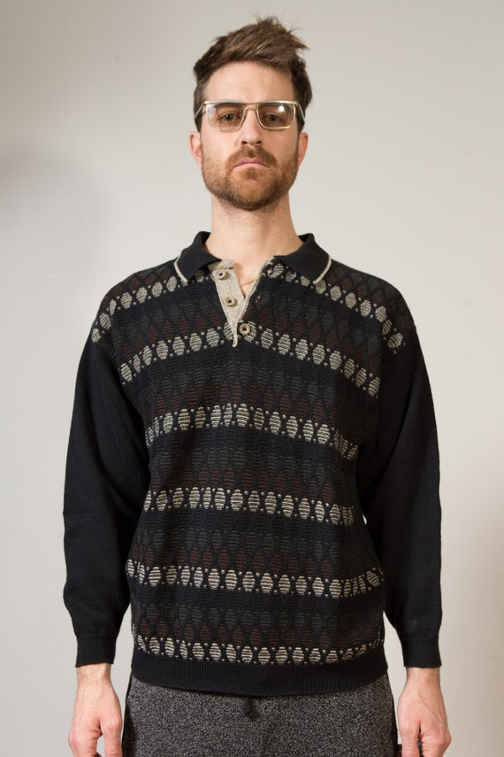 Vintage Men's Sweater - Small Black Pullover with Button Collar - Geometric Stripe Pattern - Preppy Sweater