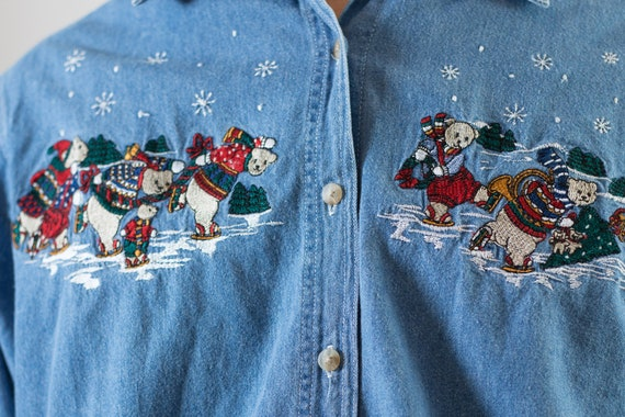 Vintage Denim Shirt - Medium Size Blue Faded Unisex Christmas Holiday Festive Long Sleeved Blue Jean Shirt - Casual Button up Mens Shirt