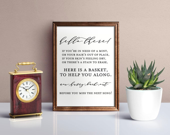 Hello There - Bathroom Wedding Wall Signage - 8.5X11 Digital Download Printable Quote Design Air and Sea Studio
