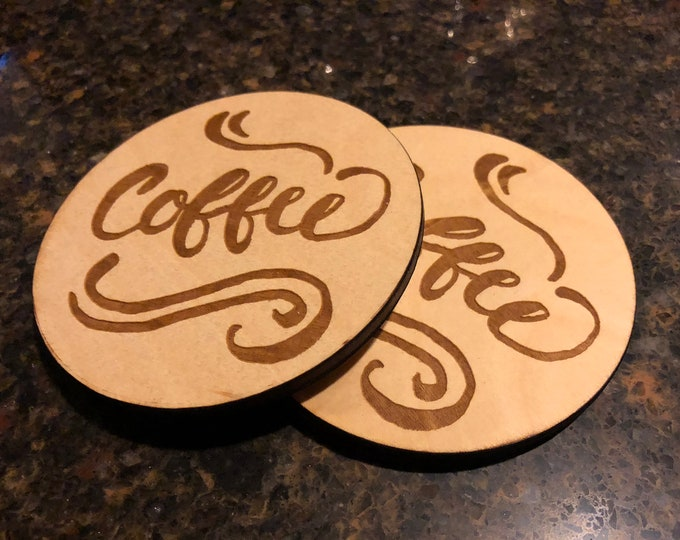 "Coffee Design 4""x4"" Round Laser Cut Slogan Drink Coasters 'Pack of 4' Event/ Birthday Present Birch Plywood Air and Sea Studio"