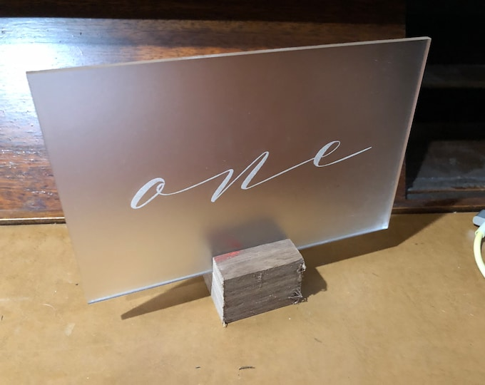 Acrylic Frosted Table Numbers 1-10 Wedding Reception Party Approx. 3x5 w/ Unfinished Walnut Notch Base Air and Sea Studio