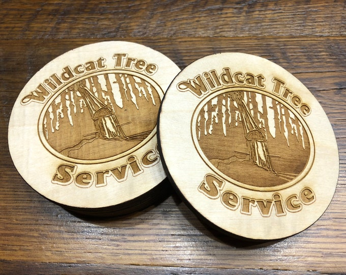 "Personalized 4""x4"" Round Laser Cut Custom ""Logo"" Drink Coasters 'Pack of 8' Wedding/ Birthday Present Birch Plywood Air and Sea Studio"