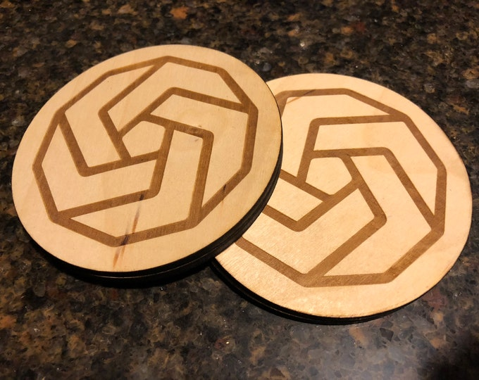 "Geometric Coaster Design #2 - 4""x4"" Round Laser Cut Drink Coasters 'Pack of 4' Event/ Birthday Present Birch Plywood Air and Sea Studio"