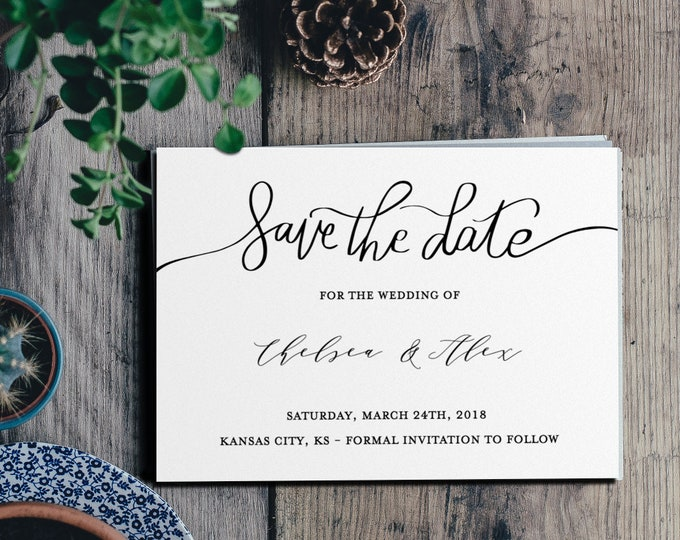 Save the Date - Modern - Fully Editable Template - Minimal - Wedding/Events - 5x7 - TEMPLETT - Digital Download Air and Sea Studio