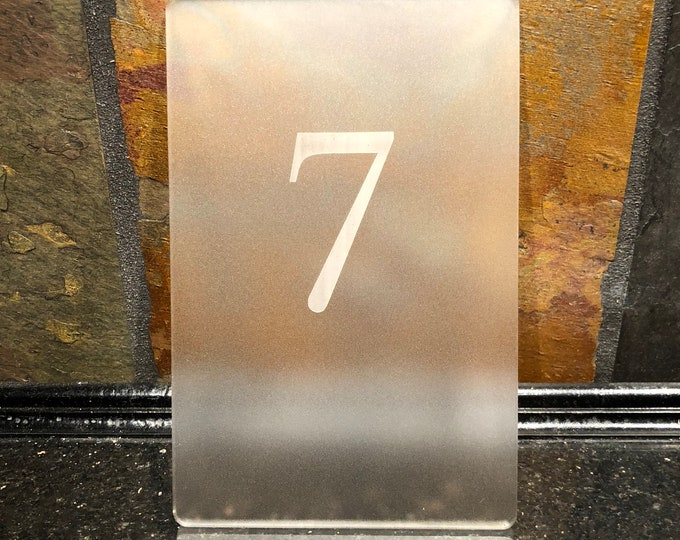 Acrylic Frosted Table Numbers 1-10 Numerical Wedding Reception Party Approx. 3x5 w/ Unfinished Walnut Notch Base Air and Sea Studio