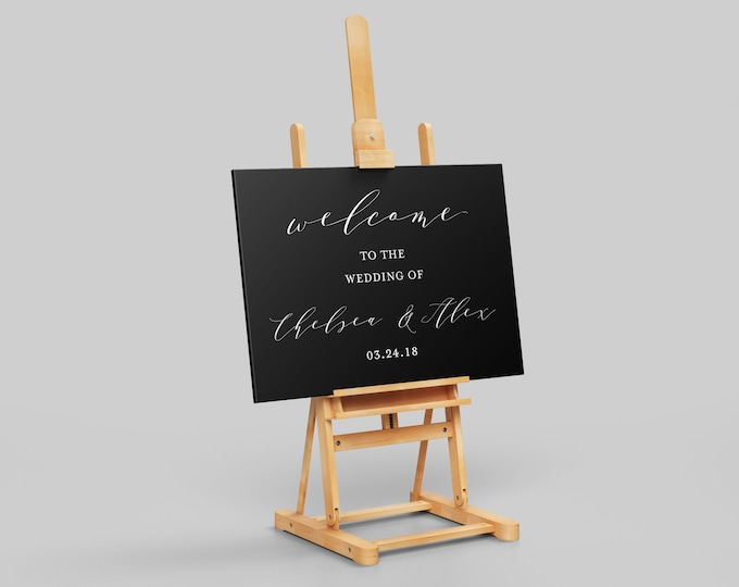 Welcome to the Wedding - Black - Wedding Signage - Table Sign Wall Art - 18x24 Editable PDF - Digital Download Template Air and Sea Studio
