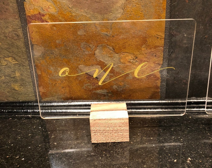 """Acrylic """"Gold Letter"""" Transparent Table Numbers 1-10 Wedding Reception Party Approx. 3x5 w/ Unfinished Walnut Notch Base Air and Sea Studio"""