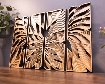 """Flow ~2 Pairs of Mirrored -24 x 16"""" Wooden Wall Art"""