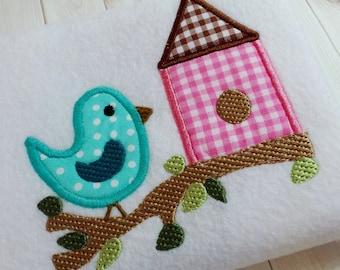 Appliqué bird on branch machine embroidery instant download design file, appliqué bird house, appliqué spring bird, summer bird