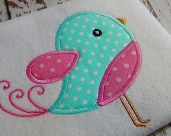 applique bird embroidery design, applique swirl bird, embroidery bird, machine embroidery instant download, Spring appliqué cute baby  bird