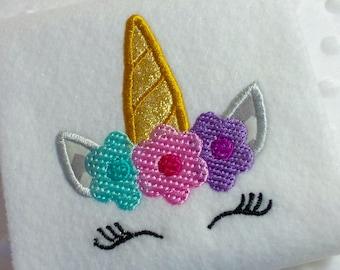 Applique unicorn face machine embroidery instant download, unicorn design, embroidery flowers, appliqué unicorn