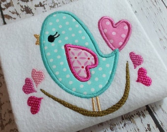Appliqué love bird machine embroidery instant download design, appliqué heart, embroidery heart, appliqué bird, embroidery song bird
