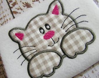 Applique Cat machine embroidery design, applique kitten design, embroidery cat, applique design, applique pretty kitty instant download