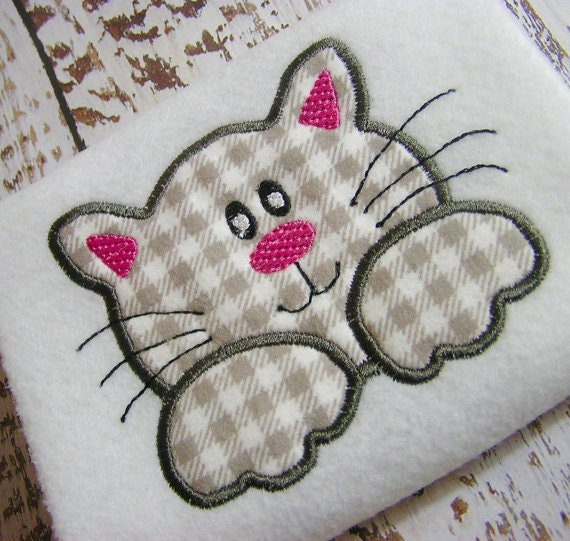 Applique Cat Machine Embroidery Design Applique Kitten Etsy