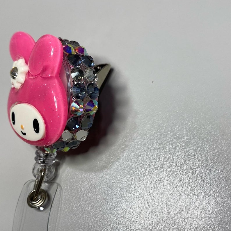 Glitter Melody badge reel alligator clip