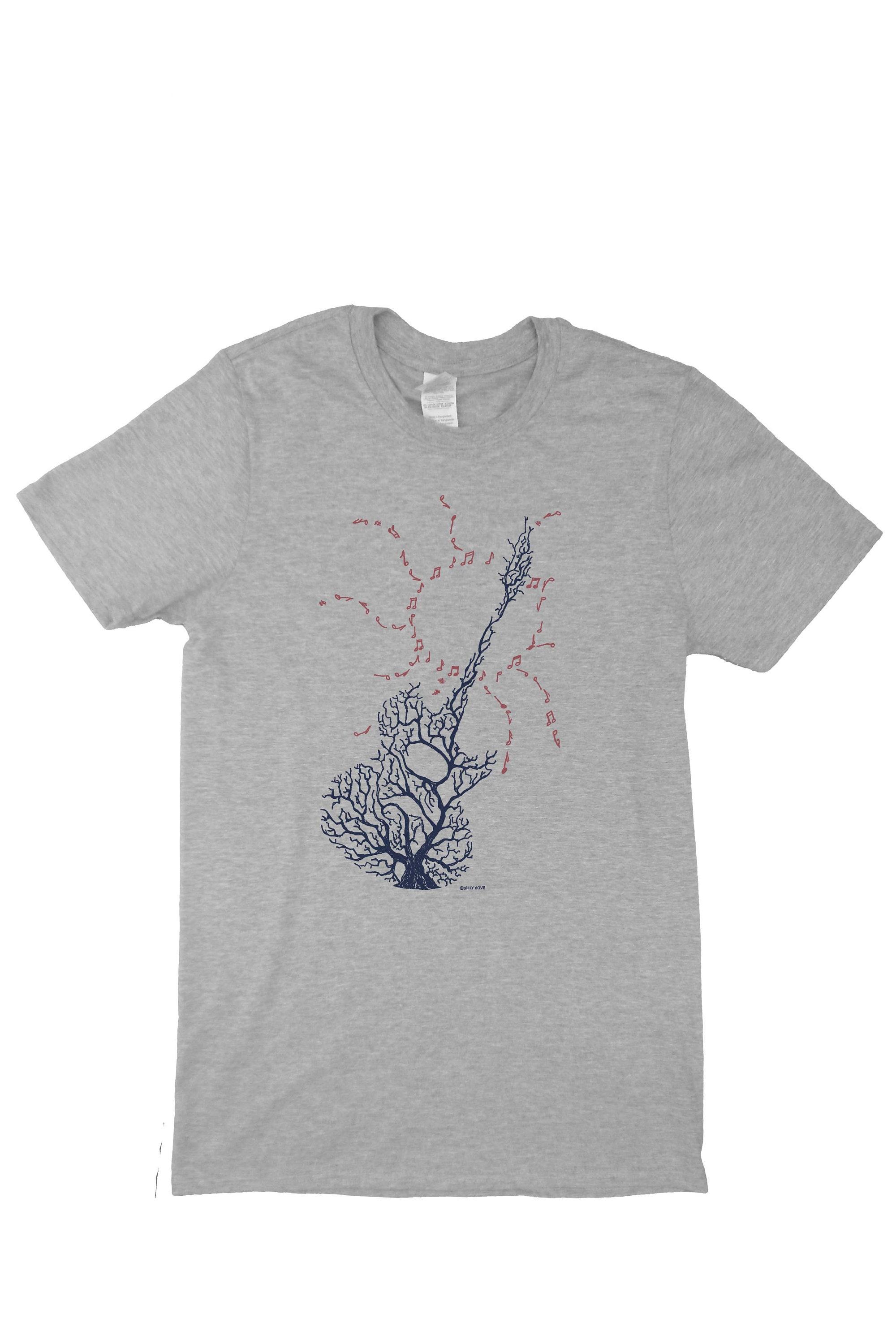 Musique guitare t-shirt, conception de guitare, la à la guitare, main dessiné, unisexe tee. bccf3c
