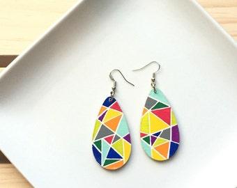 Mosaic Earrings // Geometric Earrings // Teardrop Earrings // Wooden Earrings // Rainbow