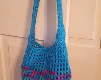 Crochet Market Bag Blue Unicorn Medium