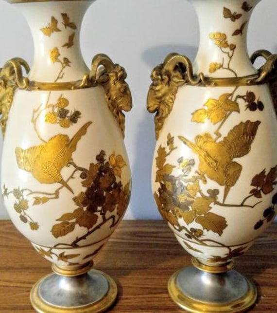 Clearance Huge Antique Gold Gilded Ram Head Vases Thomas Etsy