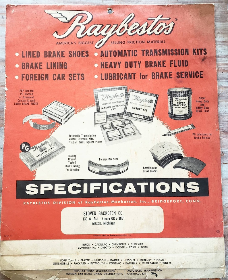 Rare 1960 Raybestos Flip Up Parts Brakes Transmission Book Wall Hanging  Like Calendar Vintage Manual Catalog Car Automobile Man Cave Garage