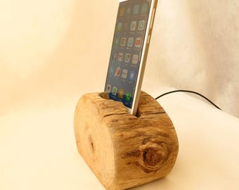 iphone dock ,Driftwood smartphone docking station, smartphones holder smartphones  charger and stand , ** one of a kind **